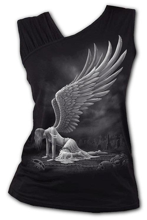 ANGEL - Gathered Shoulder Slant Vest Black (Plain)