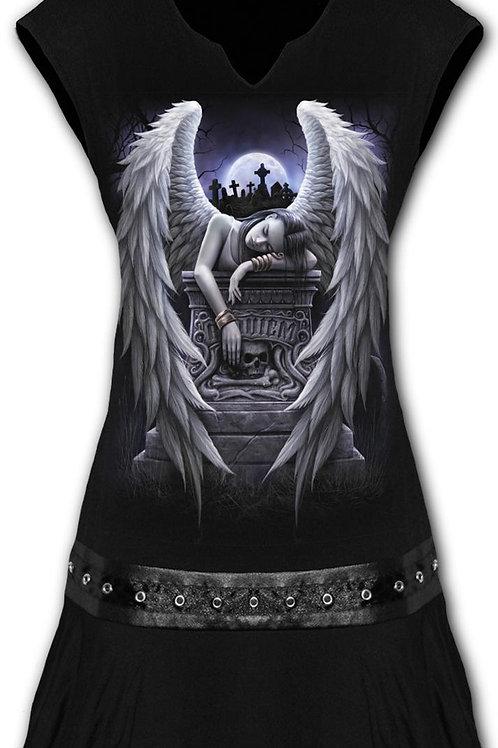 INNER SORROW - Stud Waist Mini Dress Black (Plain)