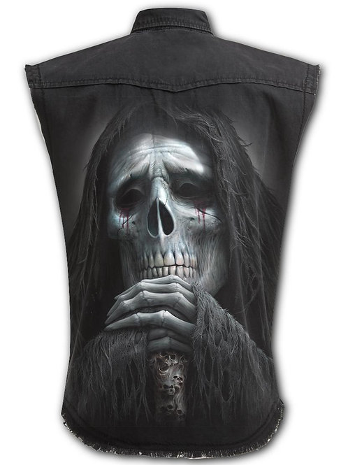 REQUIEM - Sleeveless Stone Washed Worker Black (Plain)
