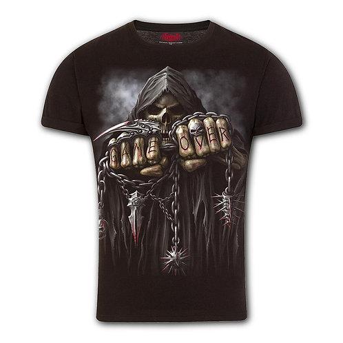 GAME OVER - T-Shirt Modern Cut Turnup Sleeve Black