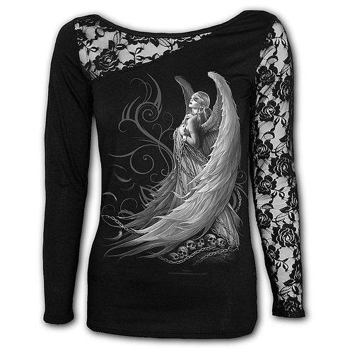 CAPTIVE SPIRITS - Lace One Shoulder Top Black (Plain)