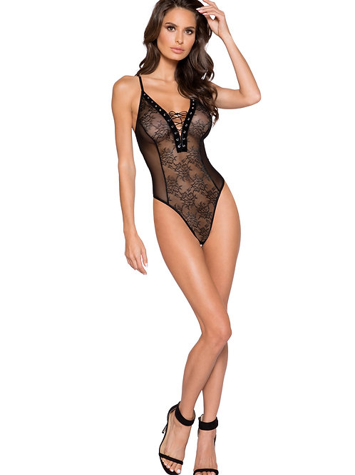 LI281 - Sheer Lace & Mesh Bodysuit with Lace-Up Detail & Snap Bottom
