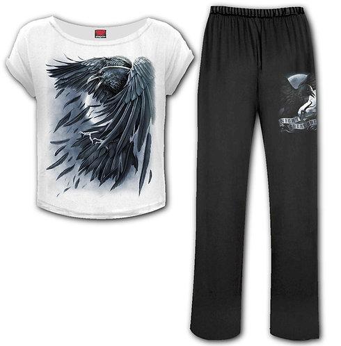 RAVEN HEART - 4pc Gothic Pyjama Set (Plain)