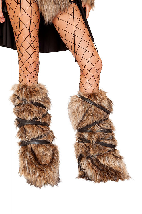 4894 - Pair of Faux Fur Leg Warmers with Strap Detail