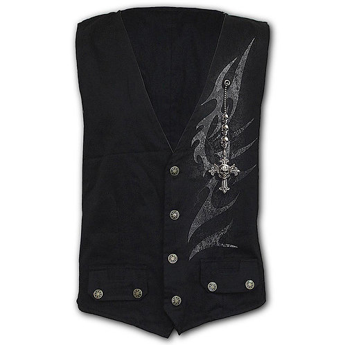 SHADOW MASTER - Gothic Waistcoat Four Button with Lining (Plain)