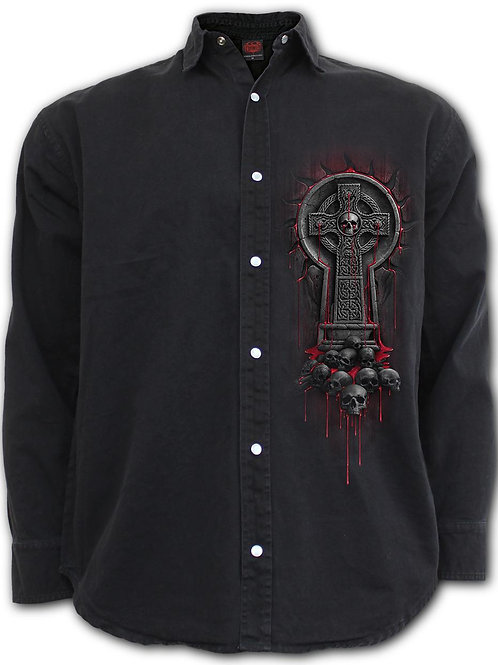 BLEEDING SOULS - Longsleeve Stone Washed Worker Black (Plain)