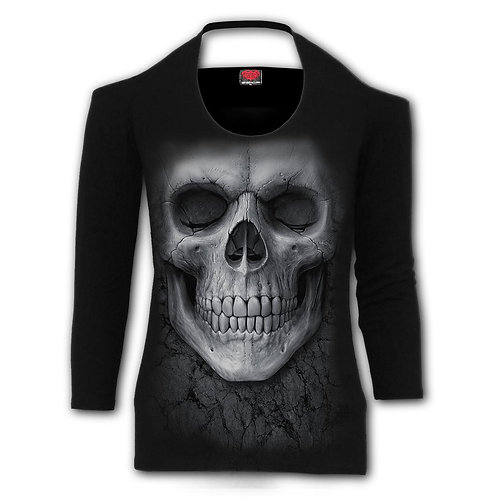 SOLEMN SKULL - Scoop Halter-Neck Long Sleeve Top (Plain)