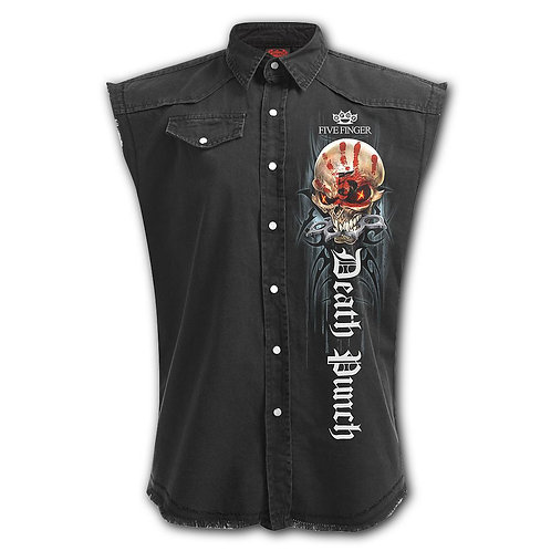 5FDP - GAME OVER - Sleeveless Stone Washed Worker Black (Plain)