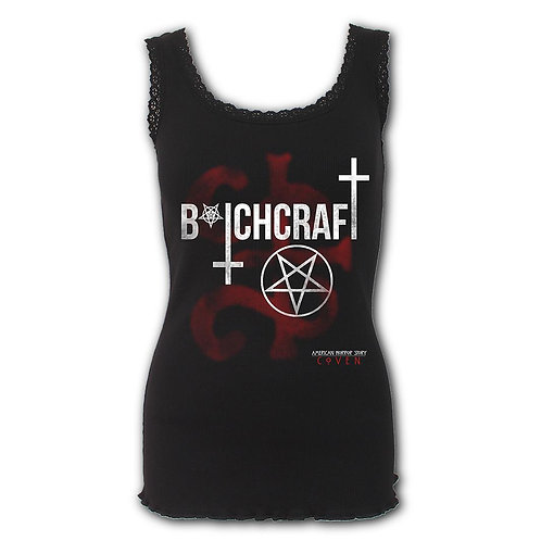 COVEN - BITCHCRAFT - Crochet Collar Ribbed Vest (Plain)