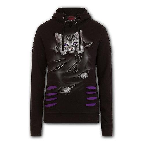 BRIGHT EYES - Large Hood Ripped Hoody Purple-Black (Plain)