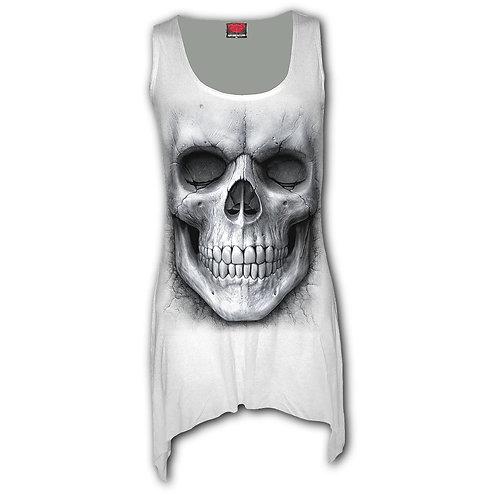 SOLEMN SKULL - Goth Bottom Vest Dress White (Plain)