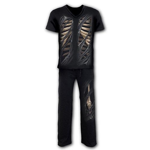 BONE RIPS - 4pc Mens Gothic Pyjama Set (Plain)