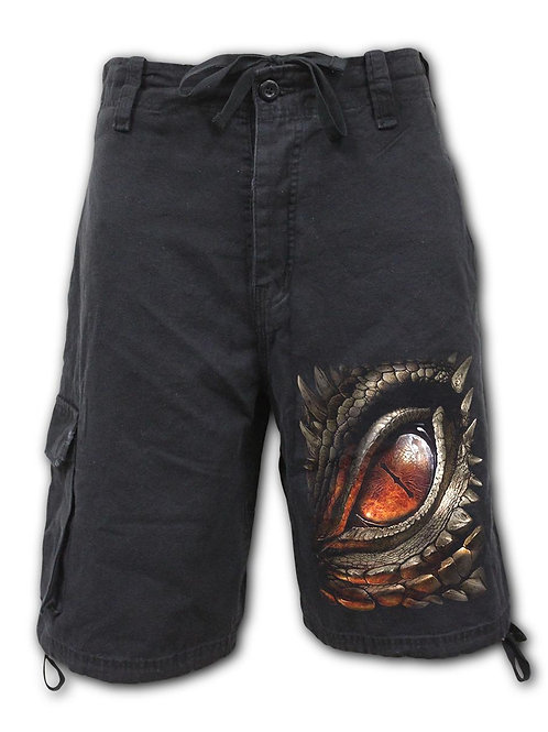 DRAGON EYE - Vintage Cargo Shorts Black (Plain)