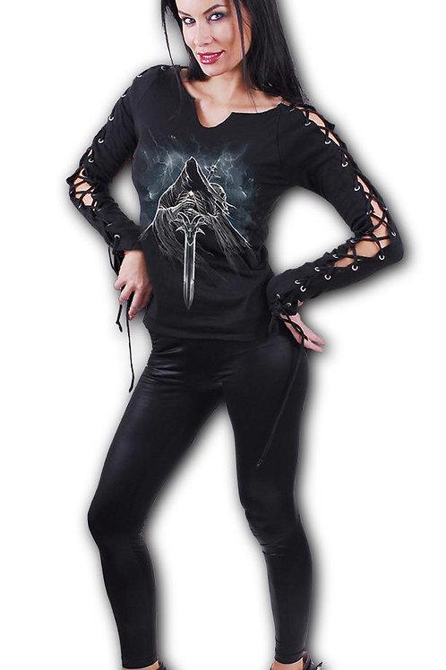 GRIM RIDER - Laceup Sleeve Top Black (Plain)
