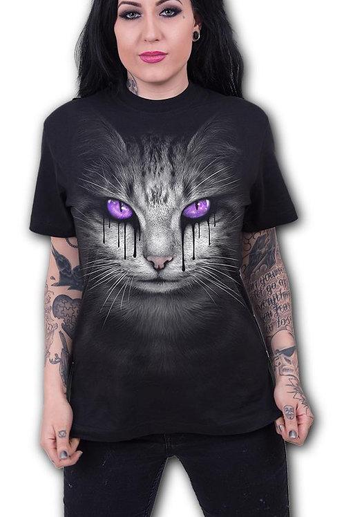 CAT'S TEARS - Front Print T-Shirt Black