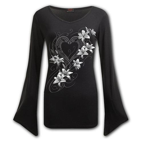 PURE OF HEART - V Neck Goth Sleeve Top Black (Plain)
