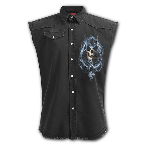 GHOST REAPER - Sleeveless Stone Washed Worker Black (Plain)