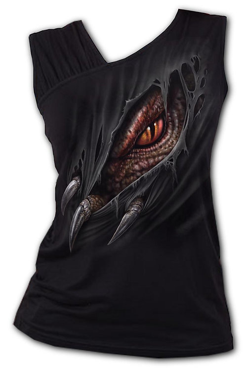 BREAKING OUT - Gathered Shoulder Slant Vest Black (Plain)