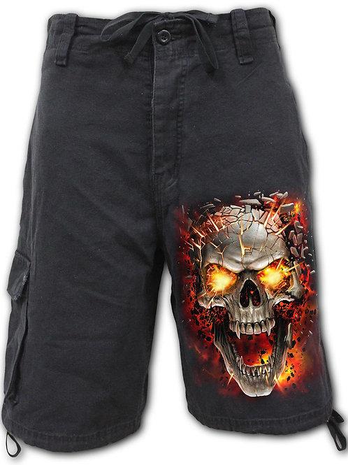 SKULL BLAST - Vintage Cargo Shorts Black (Plain)