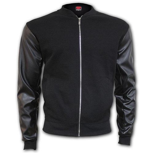 URBAN FASHION - Bomber Jacket with PU Leather Sleeves (Plain)
