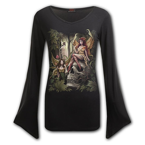 WOODLAND FAIRY - V Neck Goth Sleeve Top Black (Plain)