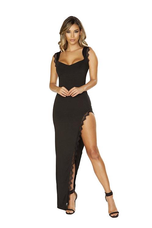 3655 - Maxi Length Dress with High Slit & Eyelash Lace Trim Detail