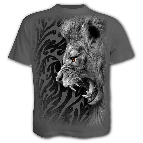 TRIBAL LION - T-Shirt Charcoal (Plain)