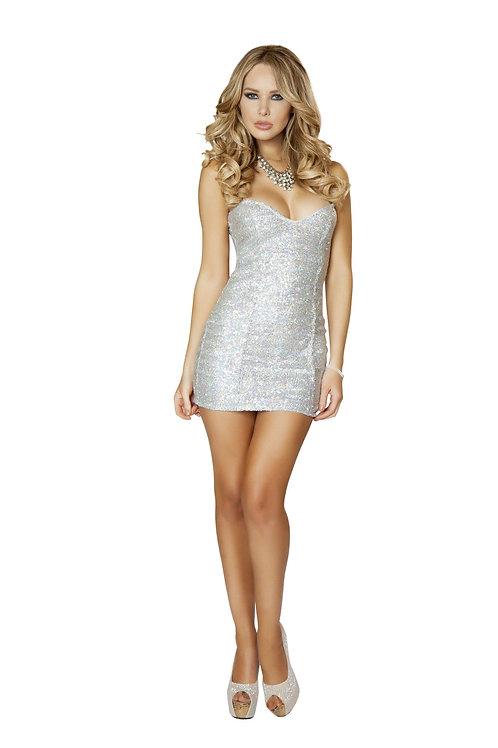3153 - 1pc Silver Sequin Mini Dress