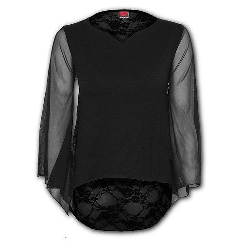 GOTHIC ELEGANCE - Lace Back Goth Top Black (Plain)