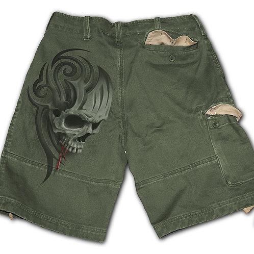 DEATH ROAR - Vintage Cargo Shorts Olive (Plain)