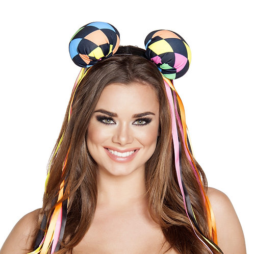 4559 - Multi Colored Diamond Head Piece with Ribbons