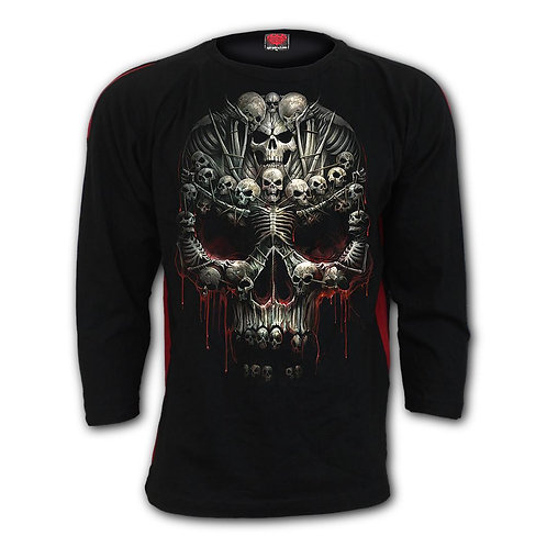 DEATH BONES - Red Ripped Longsleeve T-Shirt Black (Plain)