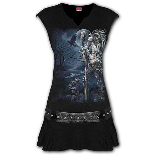 RAVEN QUEEN - Stud Waist Mini Dress Black (Plain)