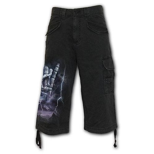 ROCK ETERNAL - Vintage Cargo Shorts 3/4 Long Black (Plain)