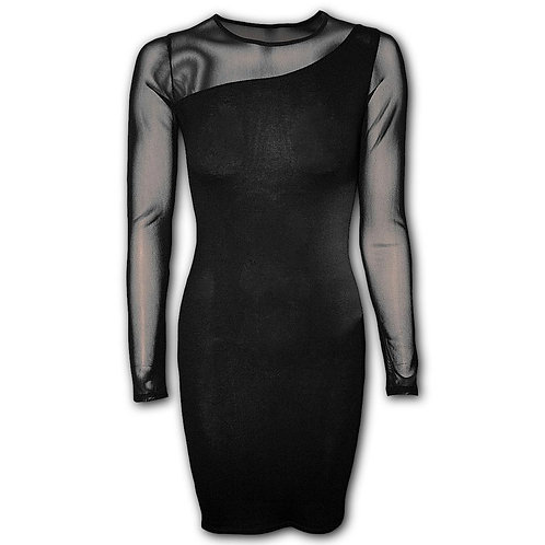 GOTHIC ELEGANCE - One Shoulder Fine Mesh Dress Black (Plain)