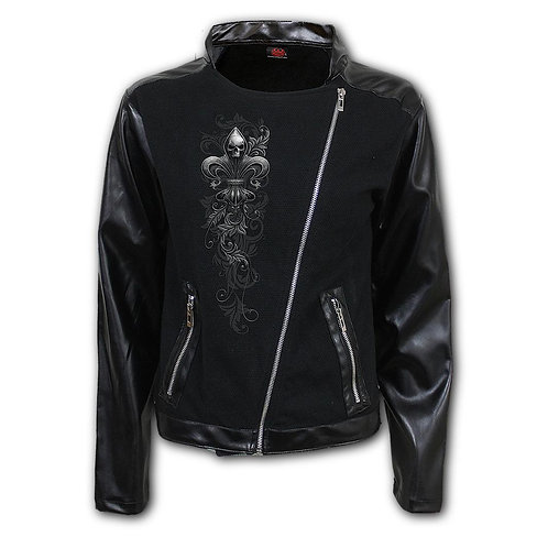 SKULL SCROLL - Pique Biker Jacket with PU Leather Sleeves (Plain)