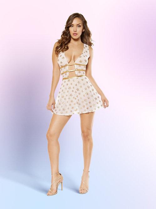 3366 - 2 Piece Glitter Star Shaped Sheer Mesh Flare Dress