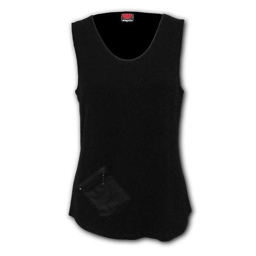 URBAN FASHION - Zip Pouch Vest Black (Plain)