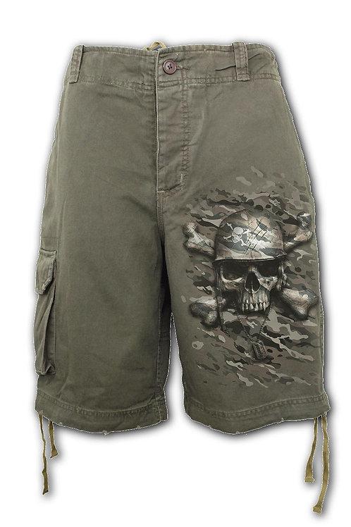 CAMO-SKULL - Vintage Cargo Shorts Olive (Plain)