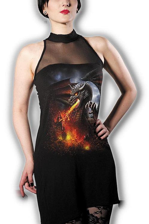 DRAGON LAVA - Halterneck Fine Mesh Dress Black (Plain)