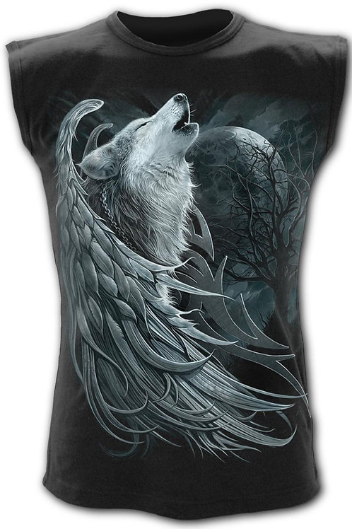 WOLF SPIRIT - Sleeveless T-Shirt Black (Plain)