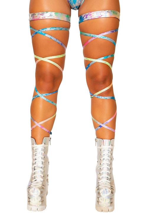 """3736 - 100"""" Rainbow Splash Leg Strap with Attached Garter"""