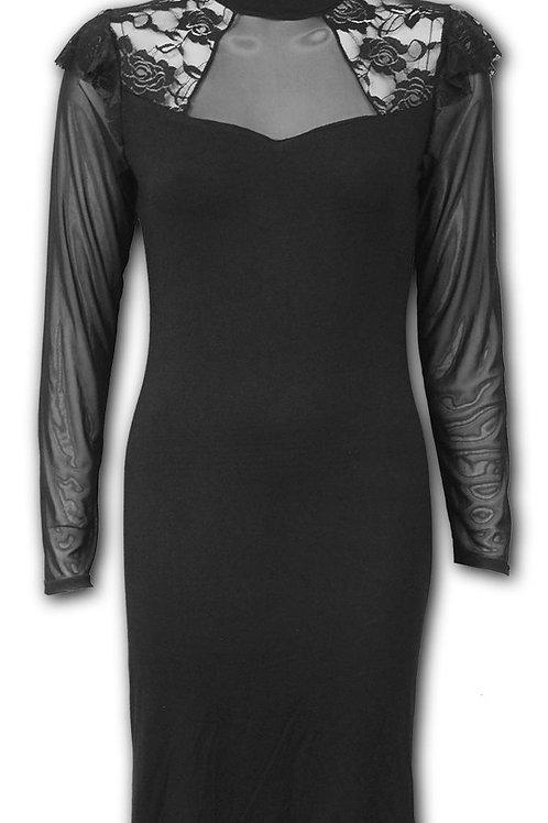 GOTHIC ELEGANCE - Lace Back Midi Gathered Dress (Plain)