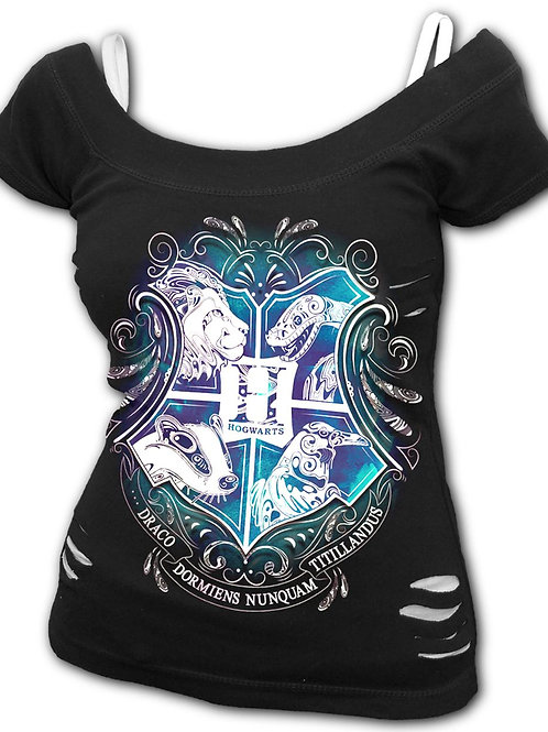 HOGWARTS CREST - 2in1 White Ripped Top Black (Plain)
