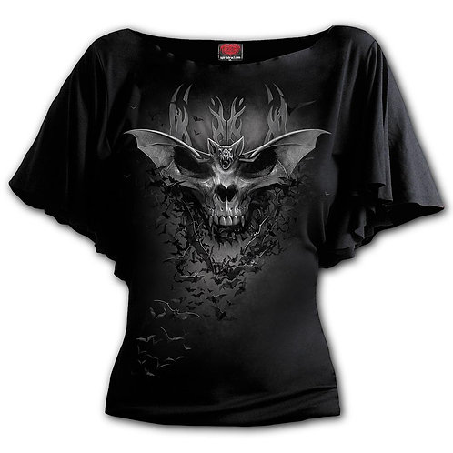 BAT SKULL - Boat Neck Bat Sleeve Top Black (Plain)