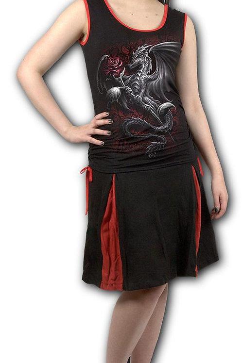 DRAGON ROSE - Back Strap Top Red Black