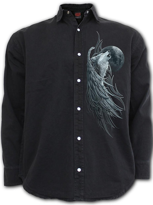 WOLF SPIRIT - Longsleeve Stone Washed Worker Black (Plain)