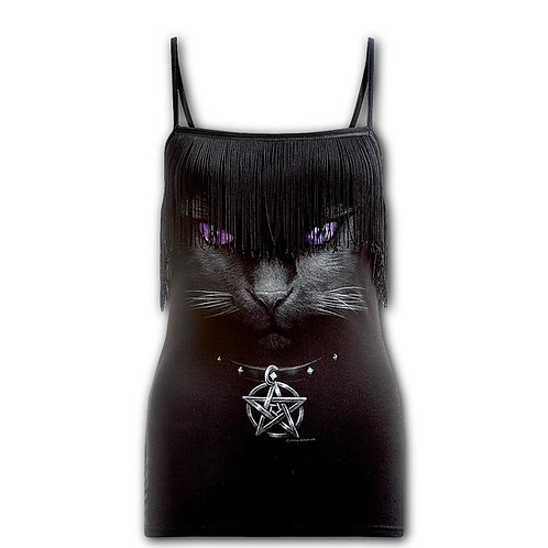 BLACK CAT - Tassel Layered Camsole Top Black (Plain)