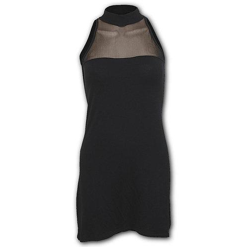 GOTHIC ELEGANCE - Halterneck Fine Mesh Dress Black (Plain)