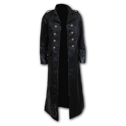 VAMPIRE'S KISS - Gothic Trench Coat PU-Leather Corset Back (Plain)